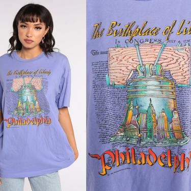 Vintage Philadelphia Shirt The Birthplace of Liberty TShirt 90s Liberty Bell Travel Graphic Pennsylvania Tshirt Purple 1990s Extra Large xl by ShopExile