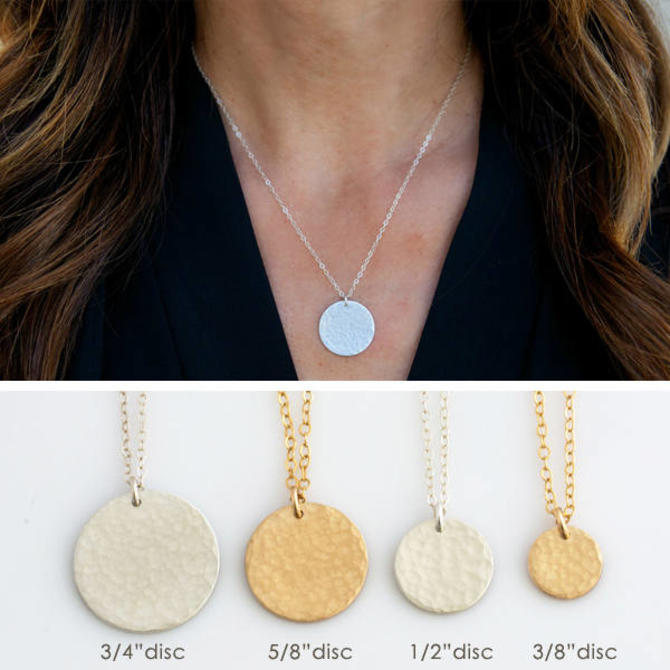 Hammered Layering Necklace, Hammered Gold Disc Necklace, Sterling Silver Gold Fill Circle Tag Necklace, Gift for her, LEILAjewelryshop, N274 by LEILAjewelryshop