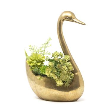 "Vintage Brass Swan Planter, Spring Planter, 13.5"" Tall by GreenSpruceDesigns"