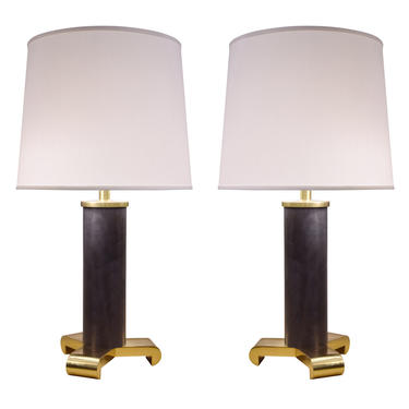 Karl Springer Exceptional Pair of Table Lamps in Gunmetal and Brass 1980s - ON HOLD