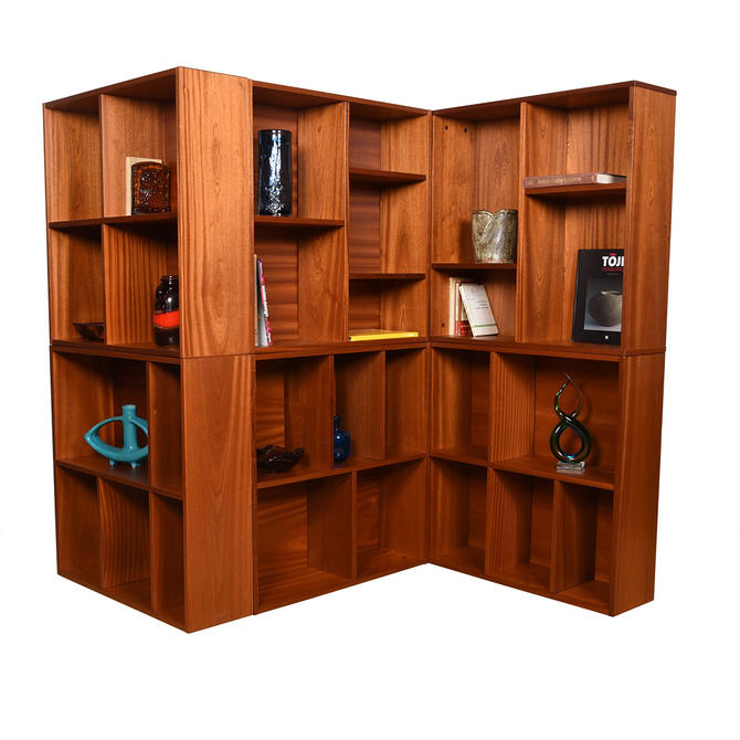 Square Danish Teak Stackable + Adjustable Bookcases – Multiple Configurations
