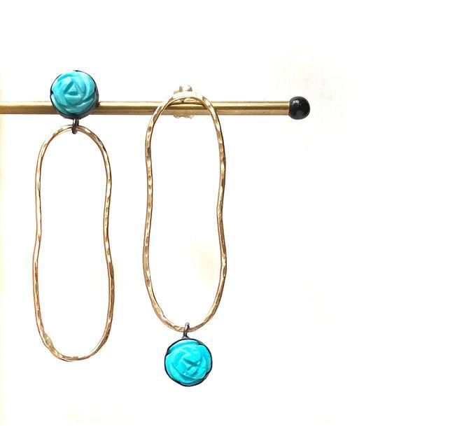 Turquoise Flower Oblong Mismatched Stud Dangle Earrings by RachelPfefferDesigns