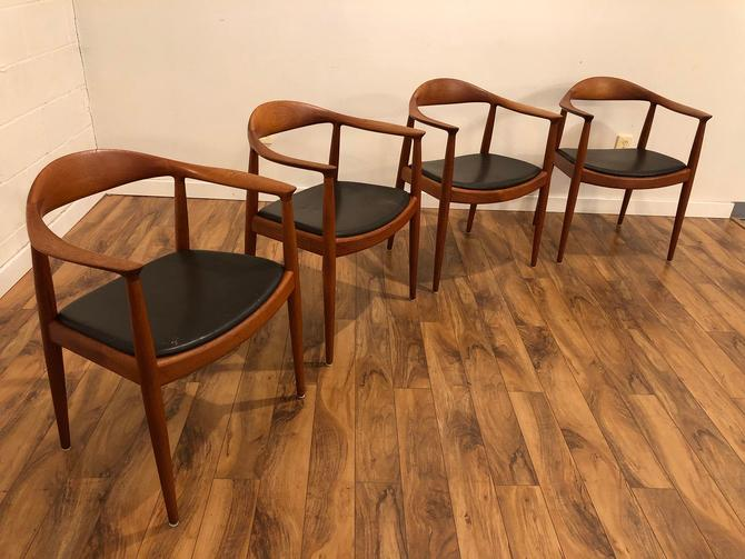 Hans Wegner Hp503 Armchairs for Johannes Hansen, Teak and Leather, Authentic, Made in Denmark, 4 Available, Each by Vintagefurnitureetc
