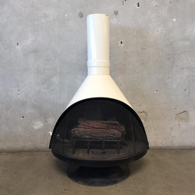 Vintage Mid Century White Modern Fireplace with Porcelain Finish