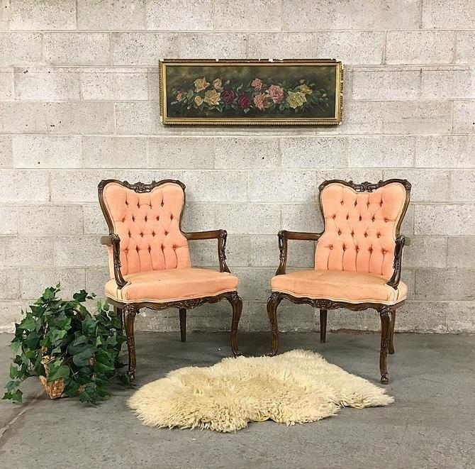 LOCAL PICKUP ONLY Vintage Pink Tufted Chairs Retro 1960's Silk Queen Anne Set of 2 Matching for Living or Dining Room Seating by RetrospectVintage215
