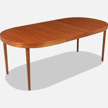 Danish Modern Expanding Oval Teak Dining Table