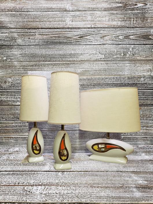 Vintage Mid Century Lamp Set, 3 Atomic White Ceramic Table Lamps w/ Shades, Geometric Mid Mod Teardrop  Vintage Lighting by AGoGoVintage