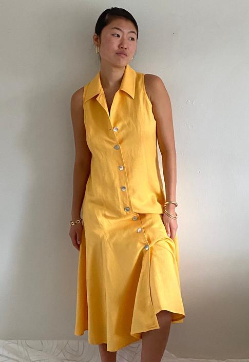 90s linen shirt dress / vintage marigold yellow woven linen button front sleeveless collared gored swing shirt dress | M by RecapVintageStudio