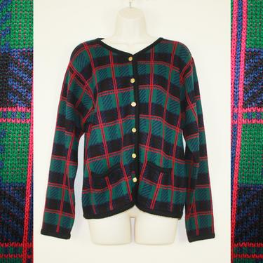 Vintage 1990s Holiday Plaid Sweater by GuavaNectarVintage