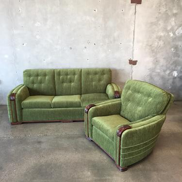 Admirable 1930S Art Deco Sofa Lounge Chair Set From Urban Americana Ncnpc Chair Design For Home Ncnpcorg
