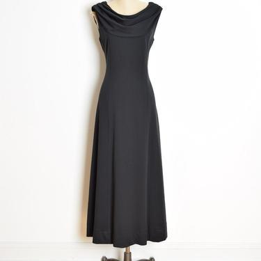 vintage 70s dress black draped cowl neckline disco long maxi dress L clothing by huncamuncavintage