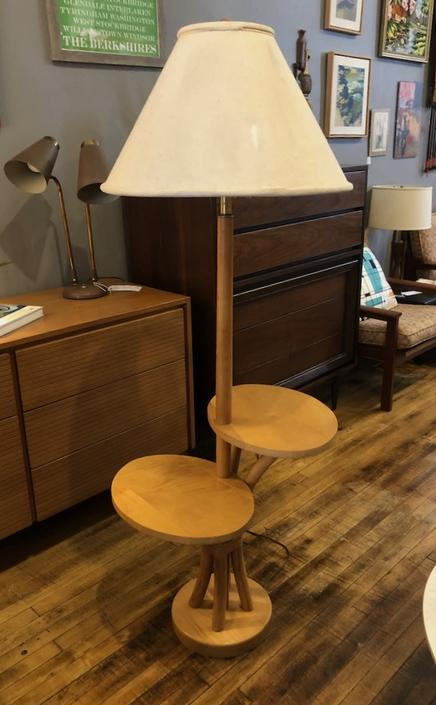 Vintage Maple and Rattan Floor lamp w\/attached tables