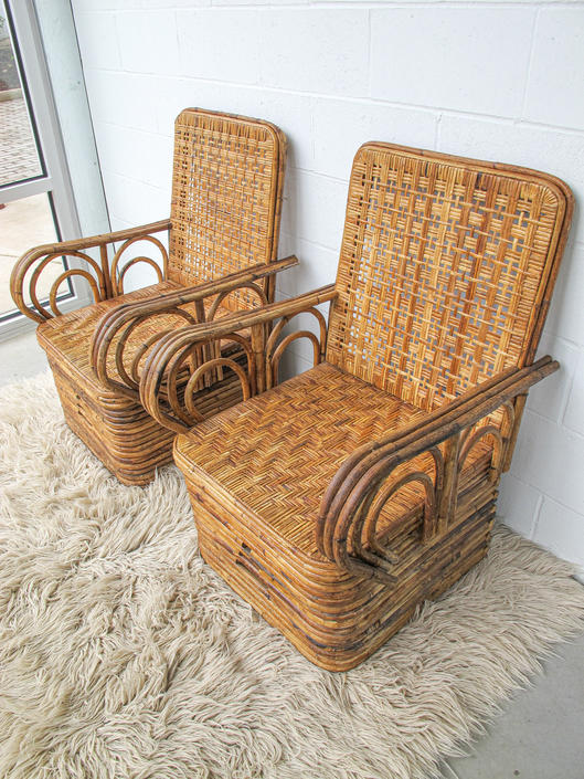 Vintage Antique Bohemian Bamboo Woven Chairs with Rattan Back and Seats (Sold Separately) by PortlandRevibe