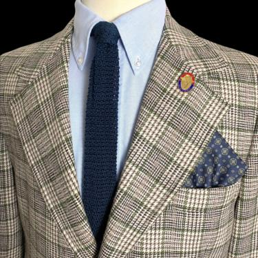 Vintage 1970s 100% WOOL TWEED Blazer ~ size 44 R ~ jacket / sport coat ~ Preppy / Ivy Style / Trad ~ Plaid / Check ~ by SparrowsAndWolves