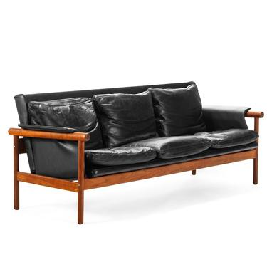 Illum Wikkelsø by Koefoed's Møbelfabrik Teak and Black Leather Sofa by ABTModern