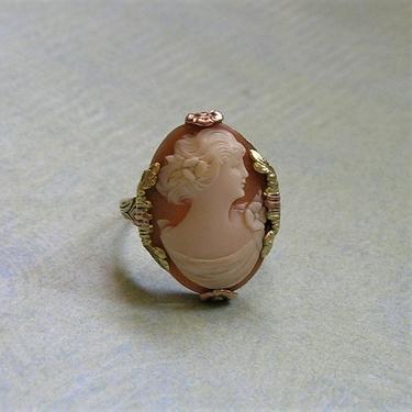 Antique Edwardian 10K Tri-Color Gold Cameo Ring, 10K Gold Cameo  Ring, Old Cameo Ring, Size 5 3/4 (#3862) by keepsakejewels