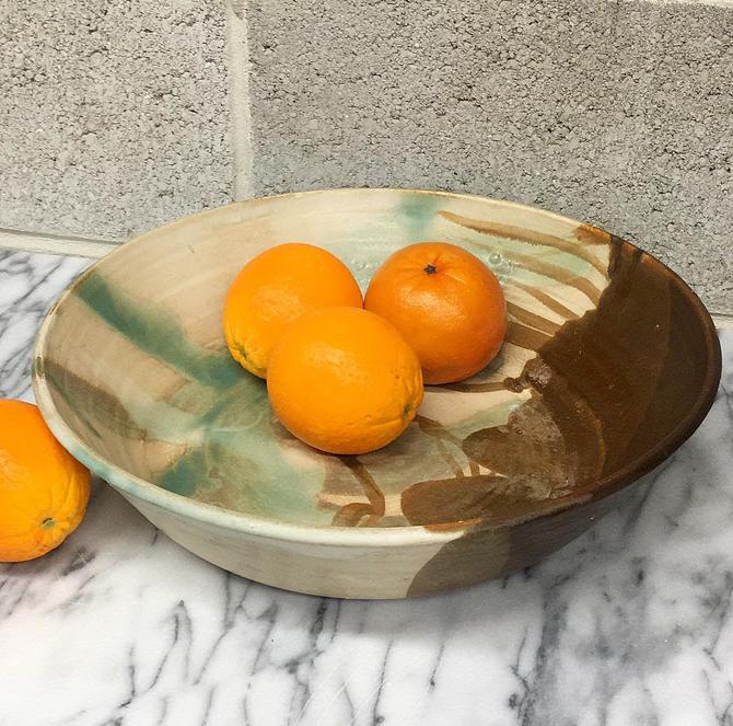 Vintage Bowl Retro 1990s Bohemian + Handmade + Ceramic Pottery + XL Size + Fruit Bowl + Painted + Matte Coloring + Kitchen Storage + Decor by RetrospectVintage215