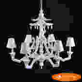 White Chinoiserie Faux Bamboo Monkey Chandelier
