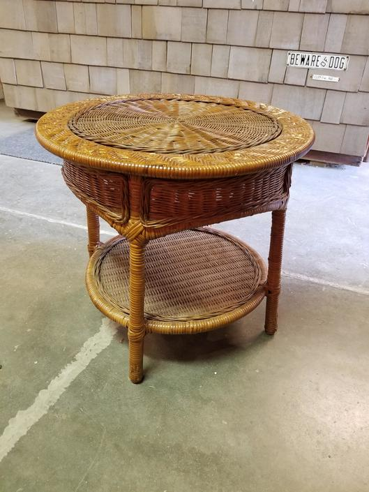 "Cute Wicker Table 24"" Diameter and 22"" Tall"
