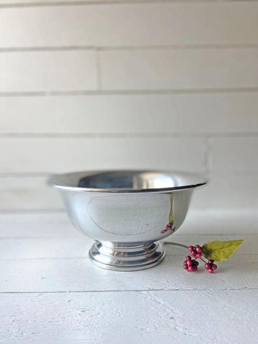 Vintage Small Silver Bowl, Pedestal Silver Bowl | Rustic, Farmhouse, Cottagecore Silver Bowl, Fruit Bowl, Kitchen Storage, Perfect Gift by CuriouslyCuratedShop