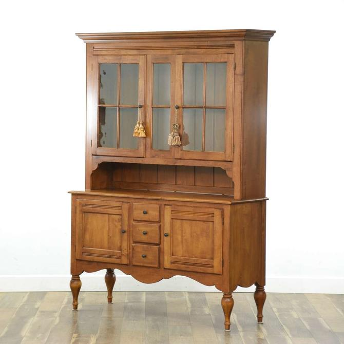 Ethan Allen American Provincial China Hutch Cabinet