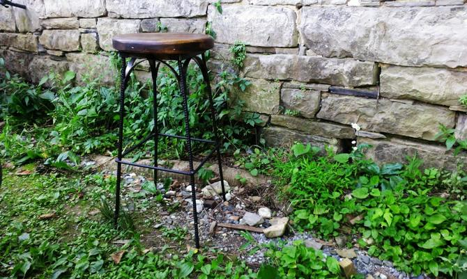 FREE SHIPPING! Reclaimed Wood Industrial Style French Bistro Stool by BarnWoodFurniture