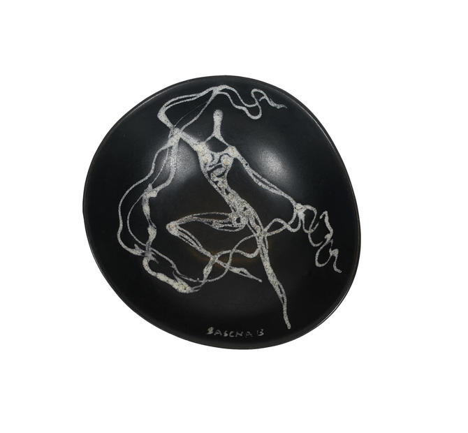 Sascha Brastoff Ceramic Bowl Nude Woman Mid Century Modern by HearthsideHome