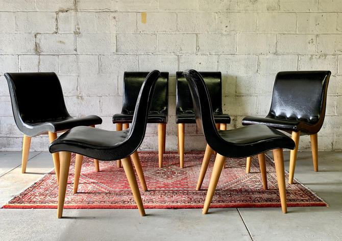 Mid Century Modern SCOOP DINING CHAIRS by Russel Wright for Conant Ball, Set of 6 by CIRCA60