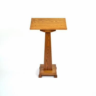 Vintage Solid Oak Pedestal Sculpture Plant Stand Converts to Podium Lectern Music Stand by PrairielandArt