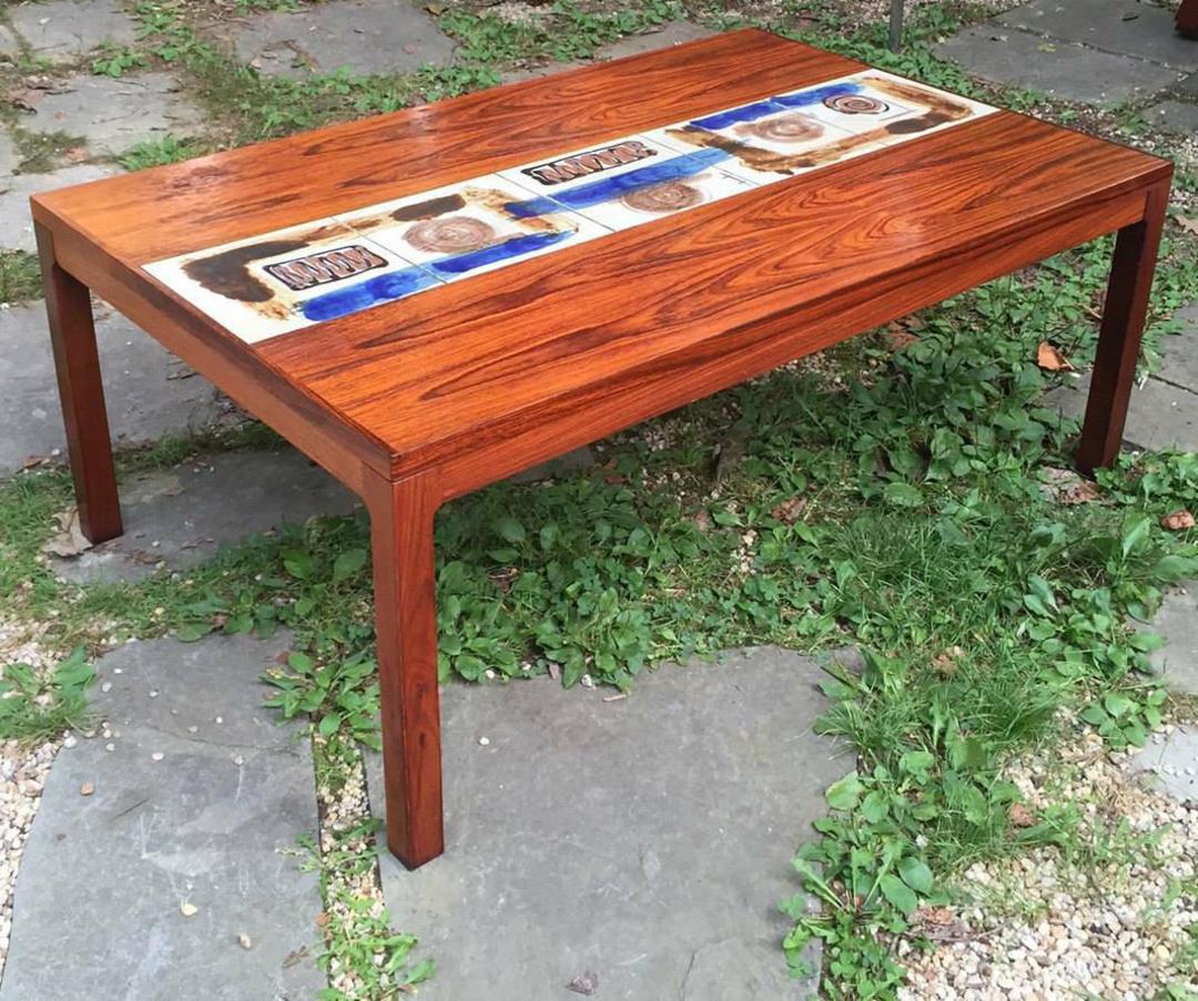 Brazilian Rosewood Danish Coffee Table Tile Inlay Mid ...