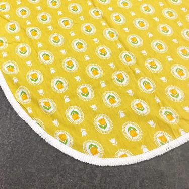 Vintage Bedspread 1960s Retro Size 106x92 + Twin or Double + Mustard Yellow + Tulips + Floral Print + Operator +  Home Decor and Bedding by RetrospectVintage215