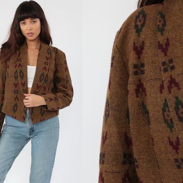 90s Blanket Jacket -- Tribal Jacket Southwest Aztec Print Brown Concho Button Boho Hippie Southwestern Cropped Coat Vintage 1990s Large by ShopExile