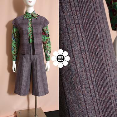 Chic Vintage 70s Heathered Purple 2-Piece Shorts Vest Set by RETMOD