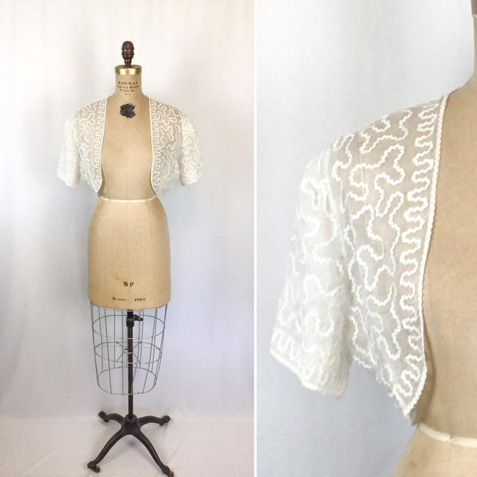 Vintage 50s shrug | Vintage white voile ric rac trimmed bolero | 1950s white bridal wedding coverlet by BeeandMason