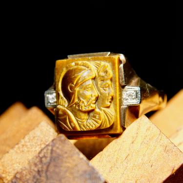 Vintage Art Deco 10K Yellow Gold Diamond Accent Tigers Eye Cameo Ring, Carving Of Greek Warriors, Iridescent Gemstone, Unisex, Size 10 US by shopGoodsVintage