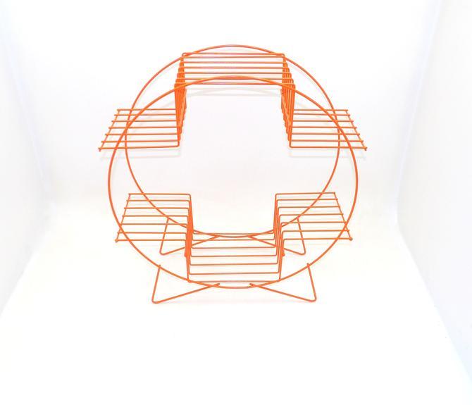 Orange Mid Century Modern Round Metal Wire Plant Stand With Multiple Shelves Shelf Hairpin Legs Original 1960's Era Succulents Geometric by MakingMidCenturyMod
