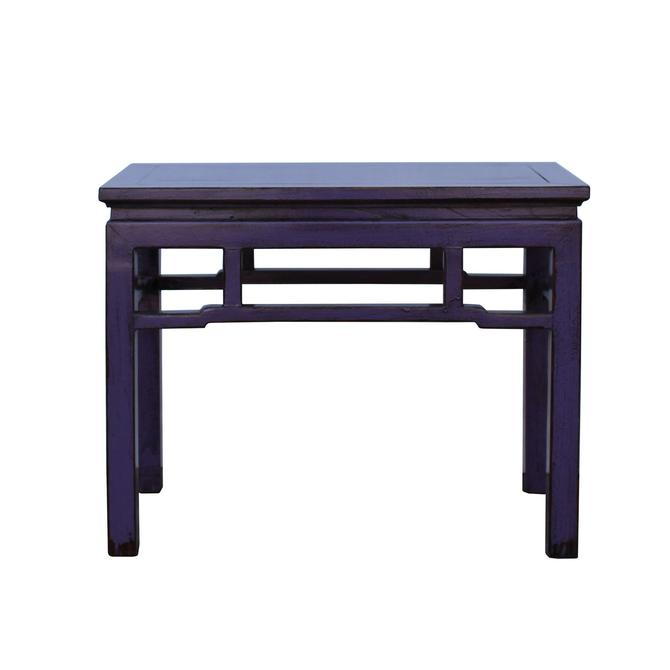 Oriental Zen Ming Style Wood Distressed Purple Lacquer Bench cs5338S