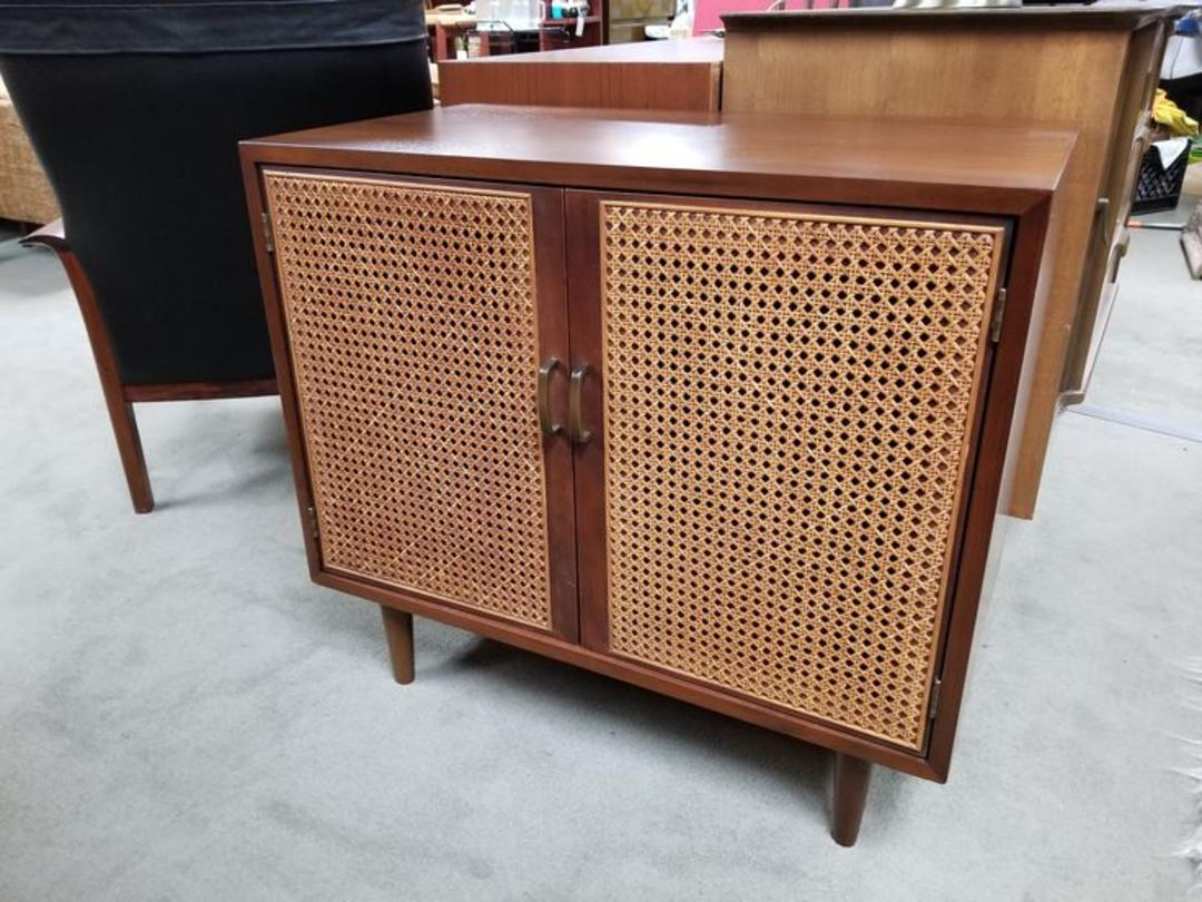 Mid Century Modern Walnut Cabinet With Rattan Door Fronts