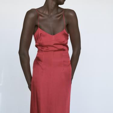 1990s Dries Van Noten Red Silk Slip Dress