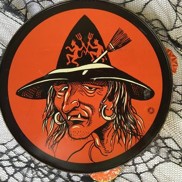 Vintage Hag/Witch Tamborine By T. Cohn, Halloween Noise Maker, Tin Litho Hag With Devil Witch Hat, Boho, Tough Customer by luckduck