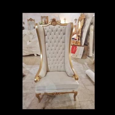 White Throne Chair White Leather Chair *2 LEFT* French Chair Throne White Leather Chair Tufted Gold Throne Chair Rococo Vintage Chair by SittinPrettyByMyleen