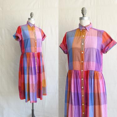 Vintage 80s Indian Cotton Checked Dress/ 1980s Colorful Large Plaid Drop Waist Dress/ Size Large by bottleofbread