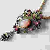 Pink and Smoke Rhinestone Art Glass Sarah Coventry Pendant / Brooch on Chain by LegendaryBeast