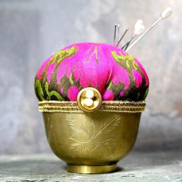 Etched Brass Asian Bowl Pin Cushion - Upcycled Vintage Brass Tea Cup Pin Cushion - Handmade | Free Shipping by Bixley