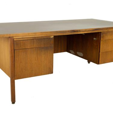 Jens Risom Style Mid Century Walnut and Laminate Executive Desk - mcm by ModernHill