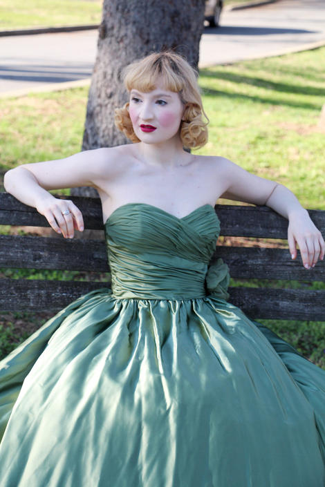 Vintage 1950s Green Satin & Silk Evening Gown Heartshaped Strapless Full Length Rose Flower Prom Princess Dress Size XS by WalkinVintage
