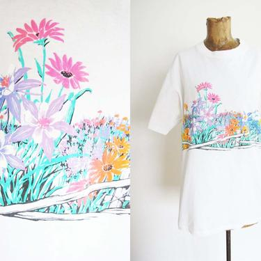 Vintage 90s Wild Flower Print T Shirt Large - 90s Floral Wrap Around Print White Shirt - 90s Clothing - Boxy Cotton 90s T Shirt by MILKTEETHS