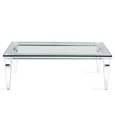NEW INTERLUDE SAVANNAH MODERN LUCITE AND GLASS TOP COFFEE TABLE
