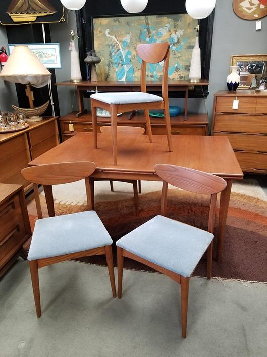 Set of four Danish Modern dining chairs with floating backs