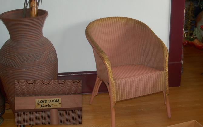 Lloyd Flanders Lloyd Loom w/ Original Label, Wicker Boudoir / Patio / Solarium Chair w/ Gold Patina ~ Never Outside ~ Very Good Condition by YesterdayAndTomorrow
